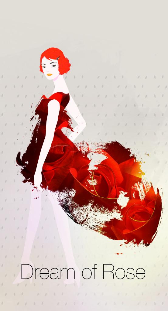 fashion illustartion - super model rose dream