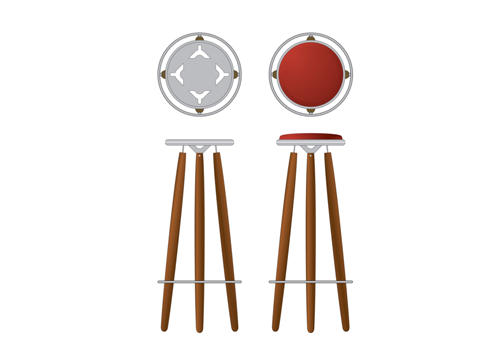 burgendy tower bar stool by Justin Tsui